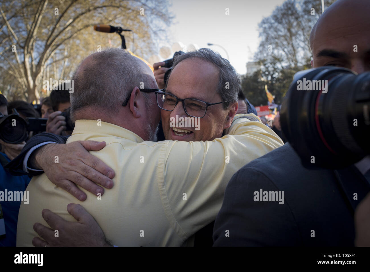 Madrid, Spain. 16th Mar, 2019. Catalonia's region president QUIM TORRA in Madrid in support of imprisoned separatist leaders which trial is underway. Thousands Catalans have gone to Spanish capital to march under the slogan 'Self-determination is not a crime'. Past 12 February in Spain's highest court began the trial on twelve Catalan leaders with charges relating to an October 2017 independence referendum that was considered illegal by the Spanish government. Credit: Jordi Boixareu/ZUMA Wire/Alamy Live News Stock Photo