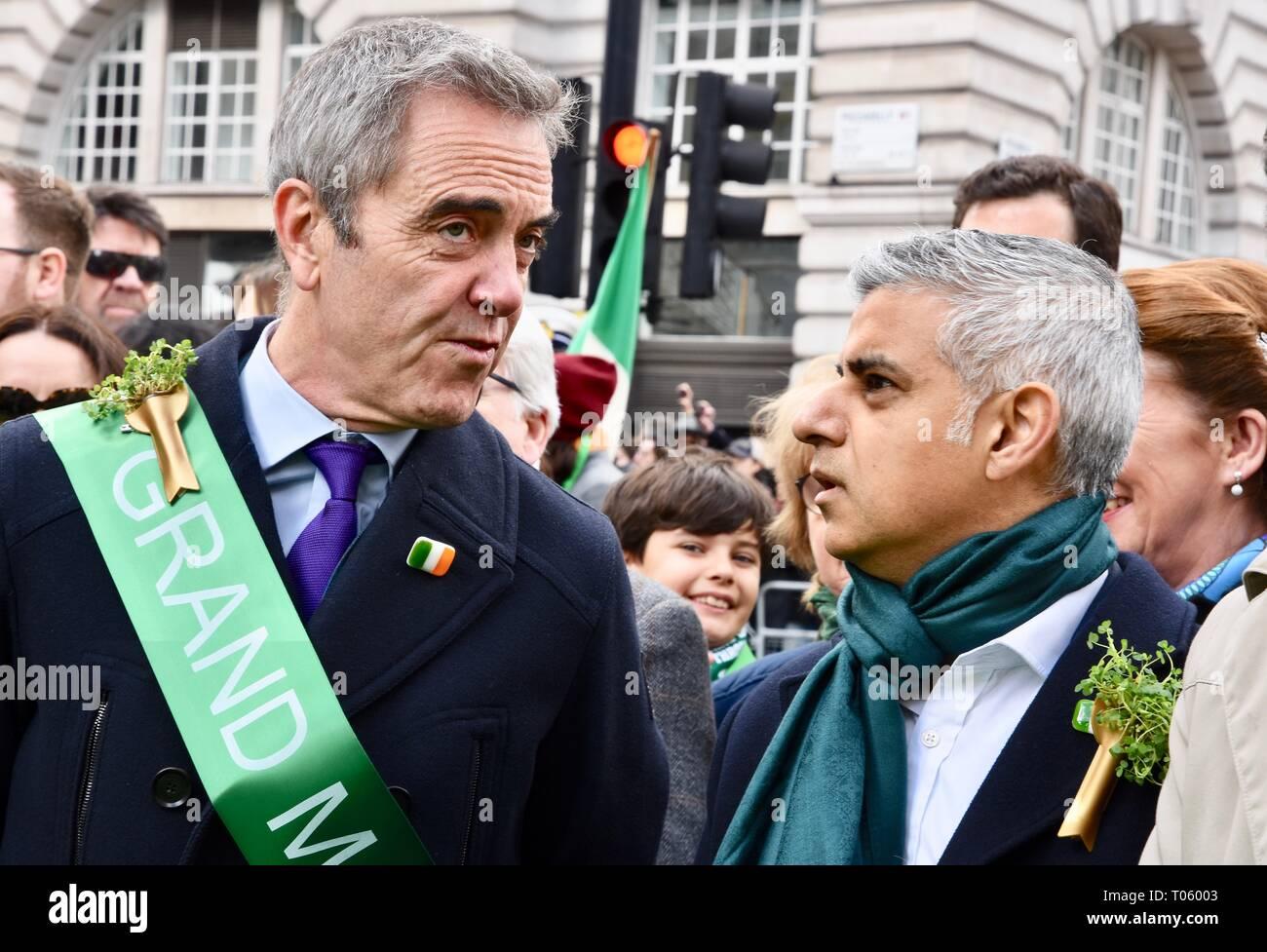 London, UK. 17th Mar, 2019. James Nesbitt,Sadiq Khan.St Patrick's Day Parade,Piccadilly,London.UK Credit: michael melia/Alamy Live News - Stock Image