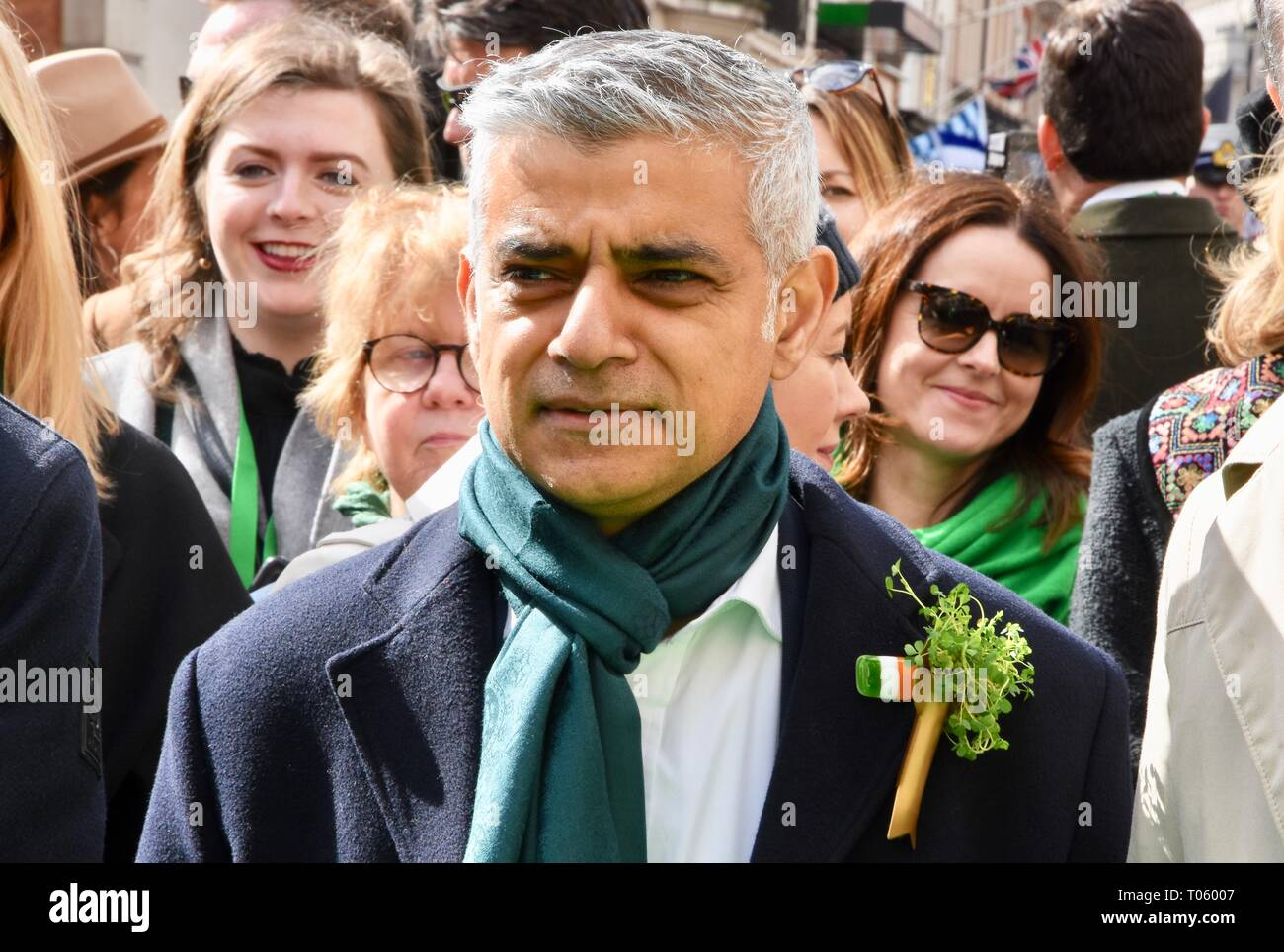 London, UK. 17th Mar, 2019. Sadiq Khan,St Patrick's Day Parade,Piccadilly,London.UK Credit: michael melia/Alamy Live News - Stock Image