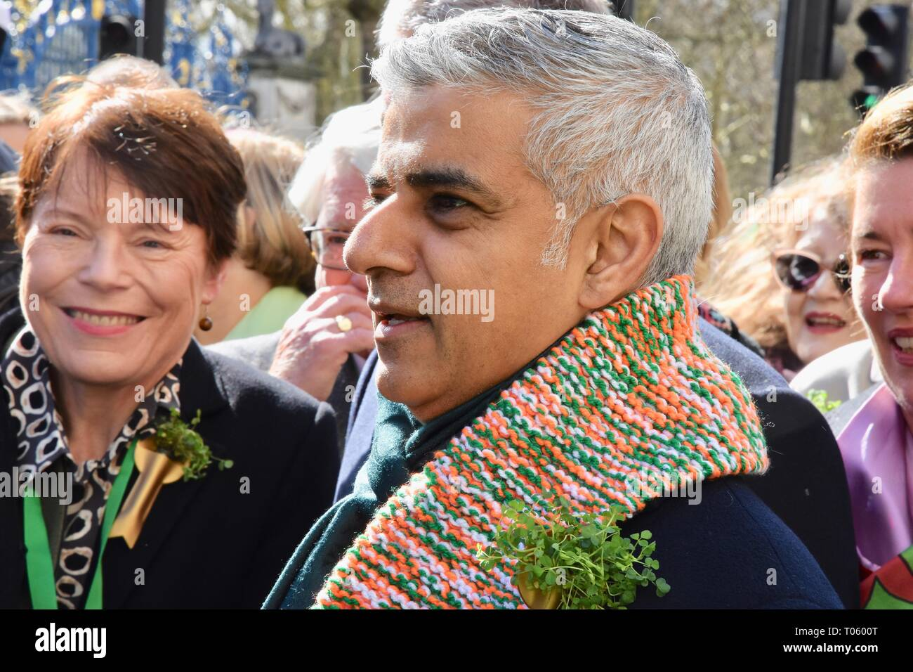 London, UK. 17th Mar, 2019. Sadiq Khan.St Patrick's Day Parade,Piccadilly,London.UK Credit: michael melia/Alamy Live News - Stock Image