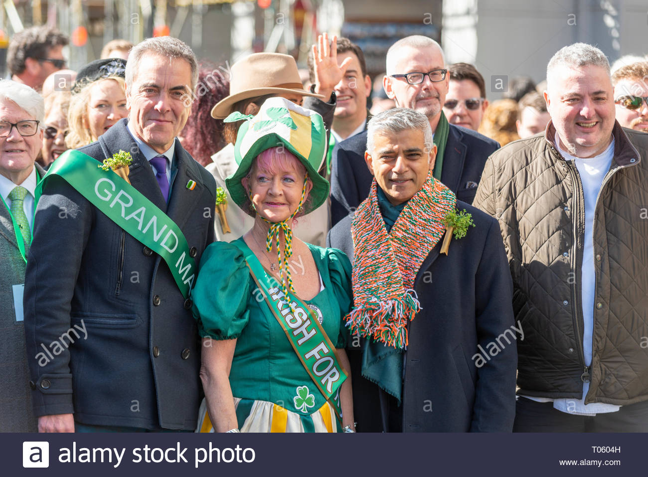 Traditional St Patrick's Day Parade through London, UK had actor James Nesbitt as Grand Marshall joining Mayor of London Sadiq Khan at the head of a huge procession. Chef Richard Corrigan and Commissioner of the London Fire Brigade Danielle Cotton also attended - Stock Image