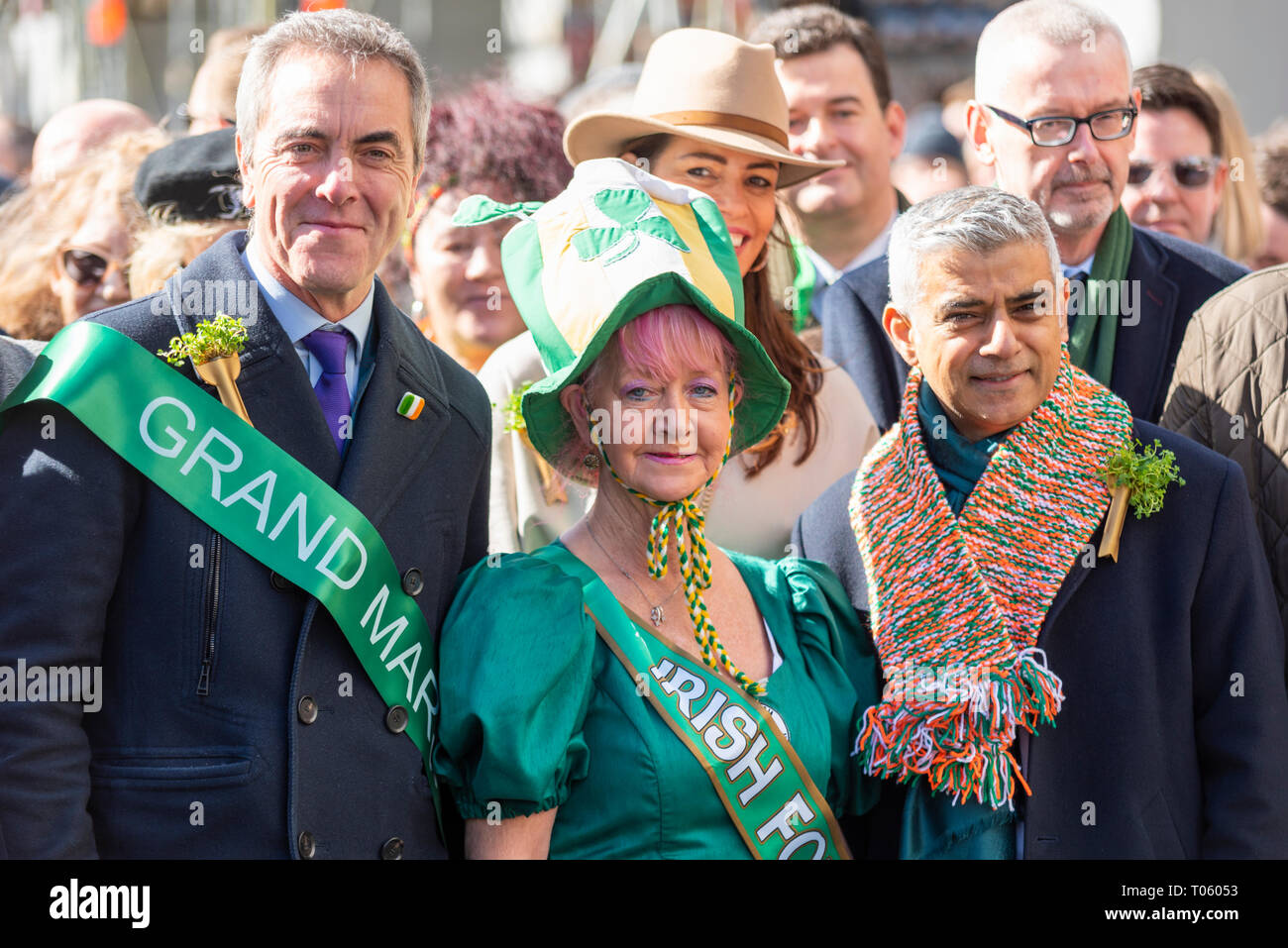 Traditional St Patrick's Day Parade through London, UK had actor James Nesbitt as Grand Marshall joining Mayor of London Sadiq Khan at the head of a huge procession - Stock Image