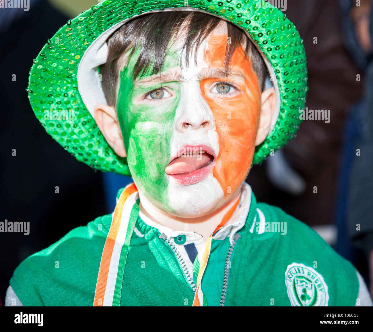 Carrigaline, Cork, Ireland. 17th March, 2019. Oscar Sheehan from Monkstown at the St. Patrick's Day Parade in Carrigaline Co. Cork, Ireland. Credit: David Creedon/Alamy Live News - Stock Image