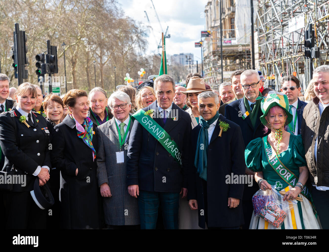 London, UK. 17th Mar, 2019. James Nesbitt, Grand Marshall of the London St Patrick's Day parade with Mayor of London Sadiq Khan. Credit: AndKa/Alamy Live News - Stock Image