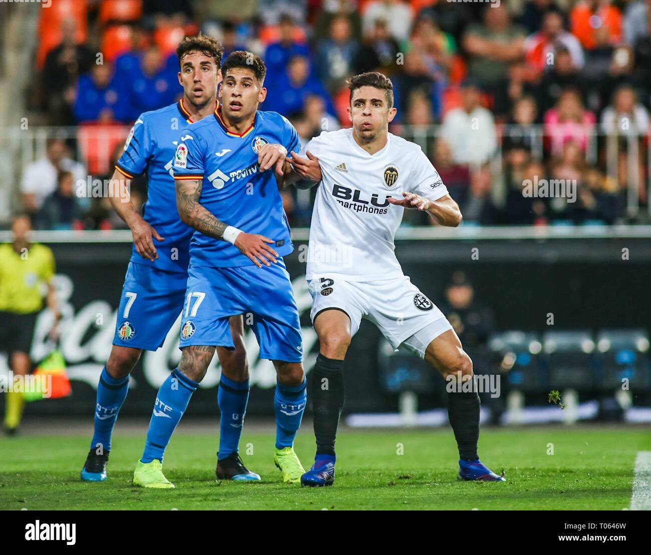 Valencia, Spain. 17th Mar, 2019. Olivera and Paulista  during the football match between Valencia CF and Getafe CF on March 17, 2019 at Mestalla Stadium in Valencia, Spain.  Cordon Press Credit: CORDON PRESS/Alamy Live News - Stock Image