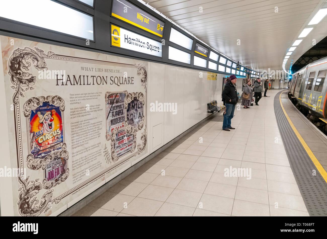 Merseyrail Hamilton Square station platform - Stock Image