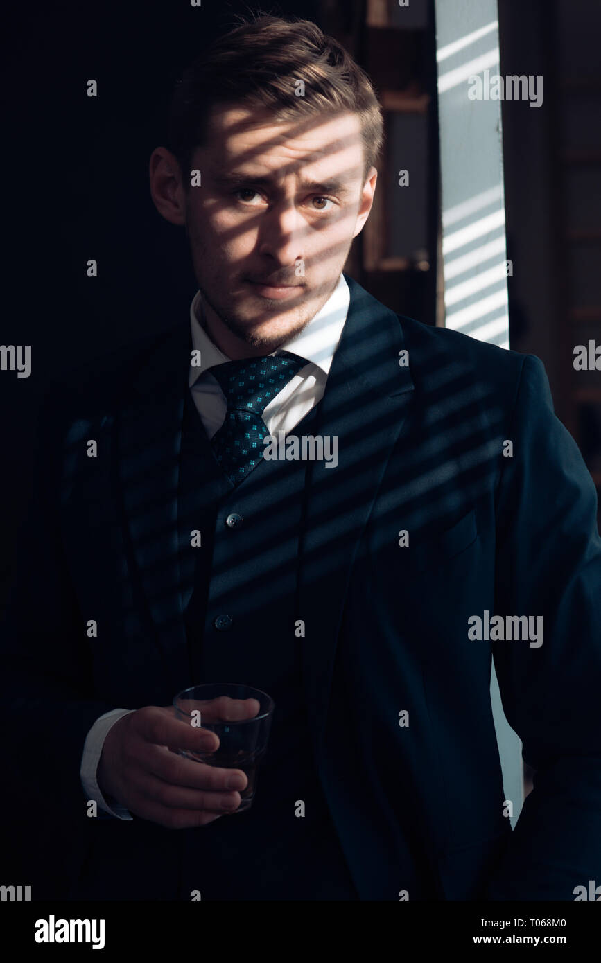 Small business concept. Businessman work in accountant office. Economy and finance. Man bookkeeper. Man in suit. Mafia. Making money. Money - Stock Image