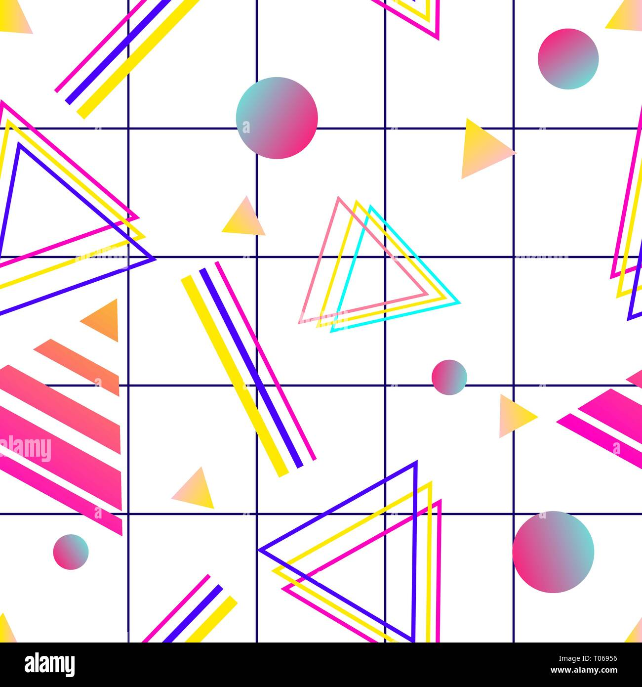 Vaporwave seamless 80's style pattern with geometric shapes