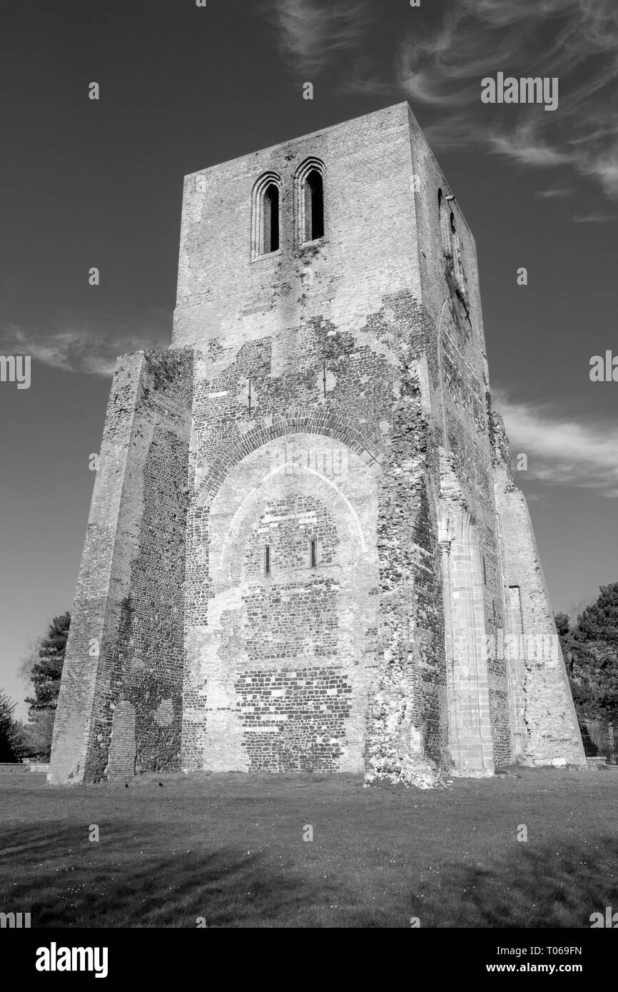 Black and white image of the Square Tower of Saint Winoc Abbey, Bergues, Nord Pas de Calais, France - Stock Image