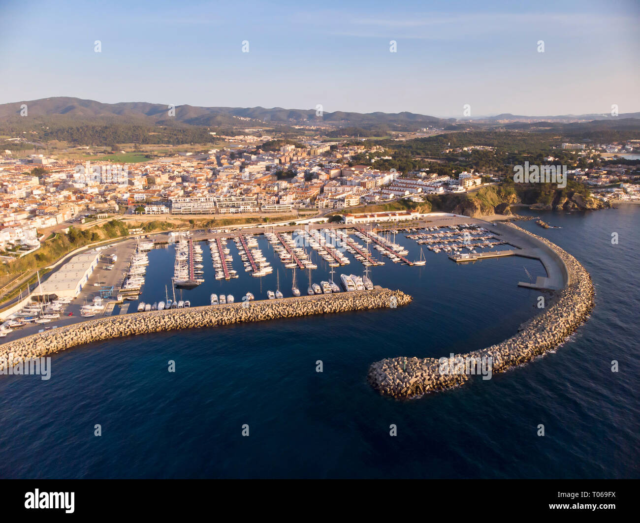Aerial drone picture from small town Palamos from Spain, in Costa Brava - Stock Image