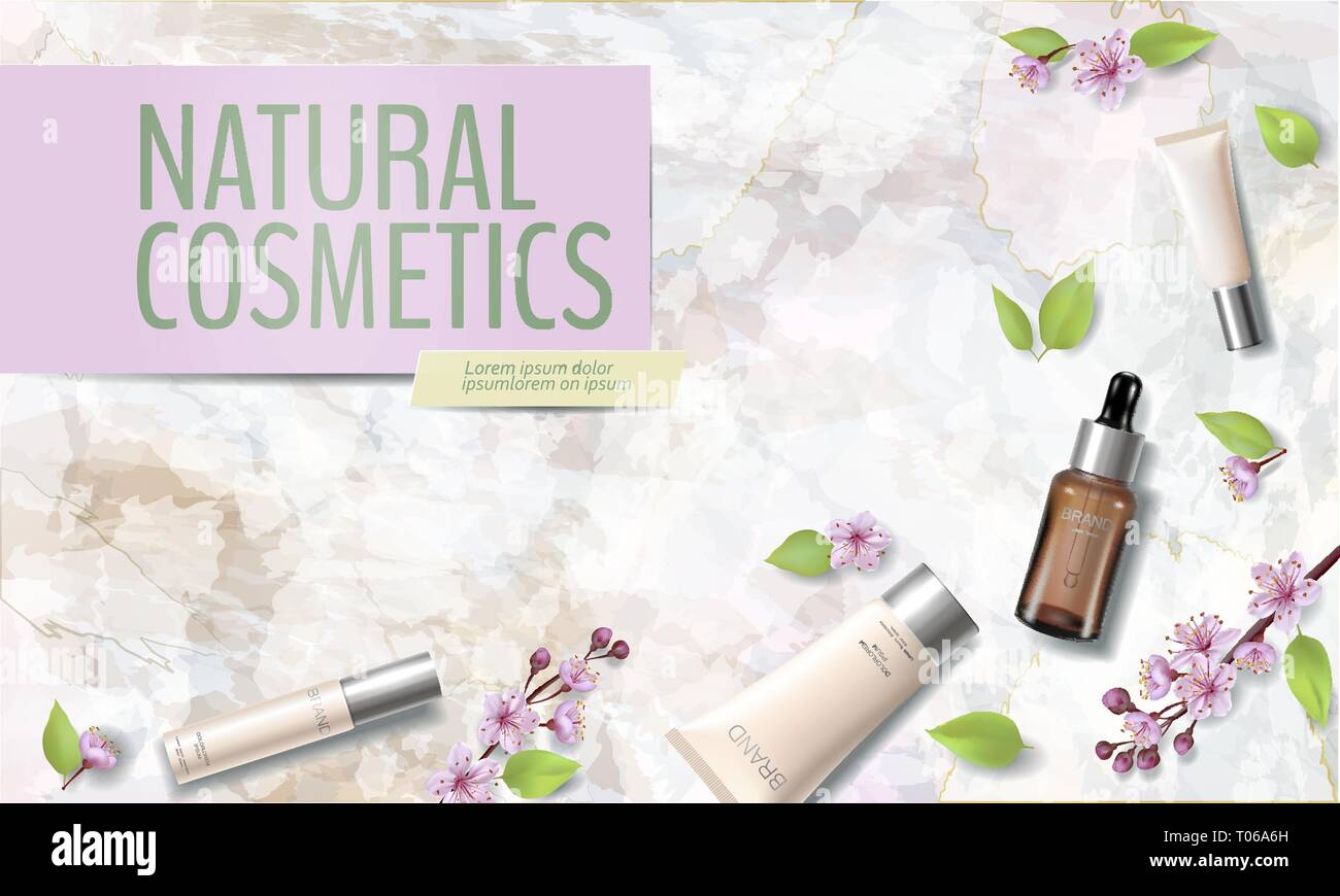 Spring sale cherry blossom organic cosmetic ad template. Skincare essence pink spring promo offer flower 3D realistic mockup. Sakura marble background - Stock Vector