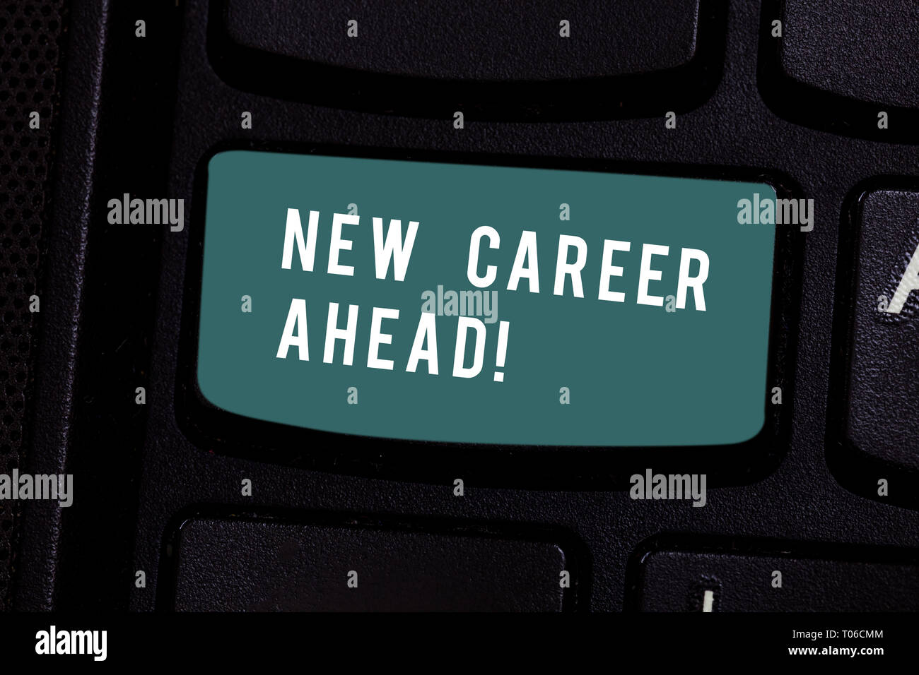Writing note showing New Career Ahead. Business concept for advance by moving from entry level job analysisagement position Keyboard key Intention to  - Stock Image