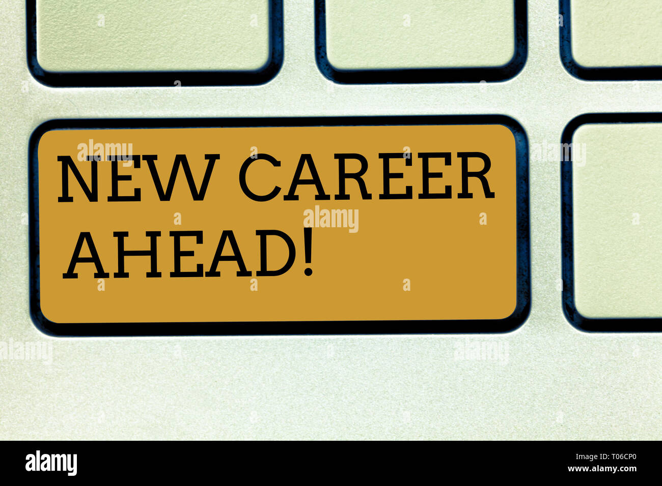 Handwriting text writing New Career Ahead. Conceptual photo advance by moving from entry level job analysisagement position Keyboard key Intention to  - Stock Image
