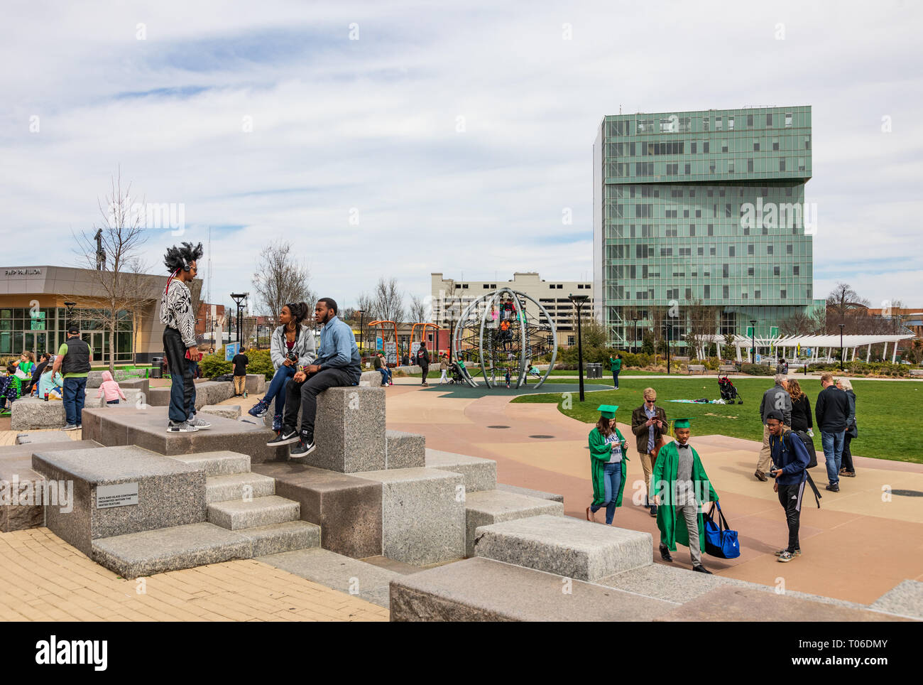 CHARLOTTE, NC, USA-3/16/19: A busy 1st Ward Park on a sunny spring day. Stock Photo