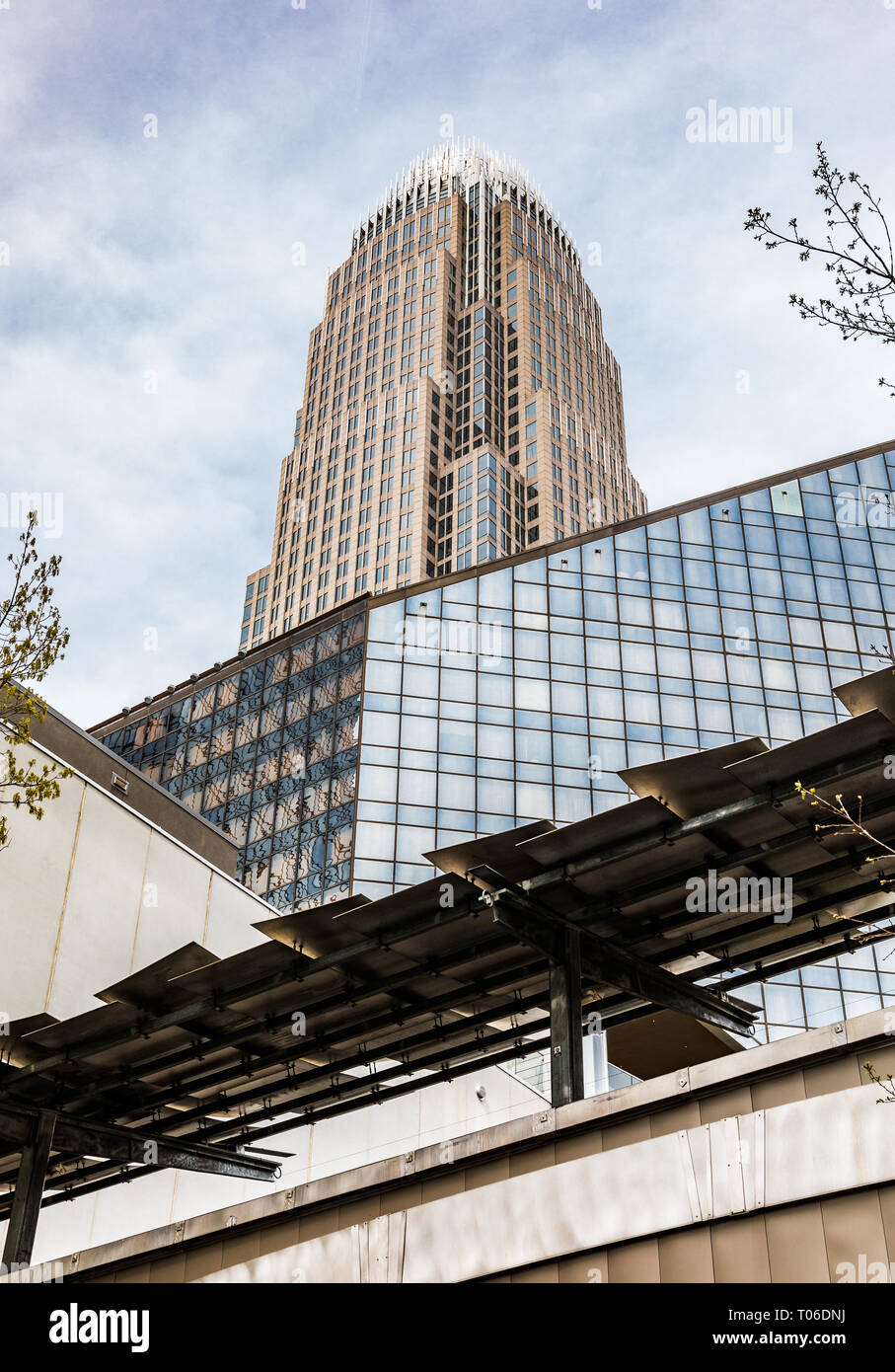 CHARLOTTE, NC, USA-3/16/19: The Bank of America Corporate Center towers above the Charlotte skyline. Stock Photo