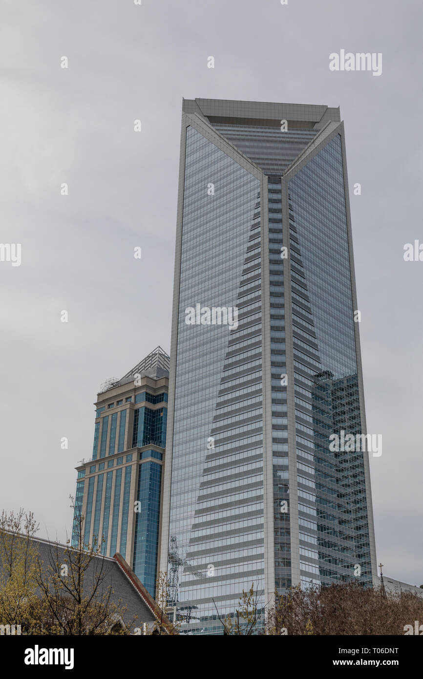 CHARLOTTE, NC, USA-3/16/19: The Duke Energy Center, with Legacy Union building to the left, in uptown Charlotte. Stock Photo
