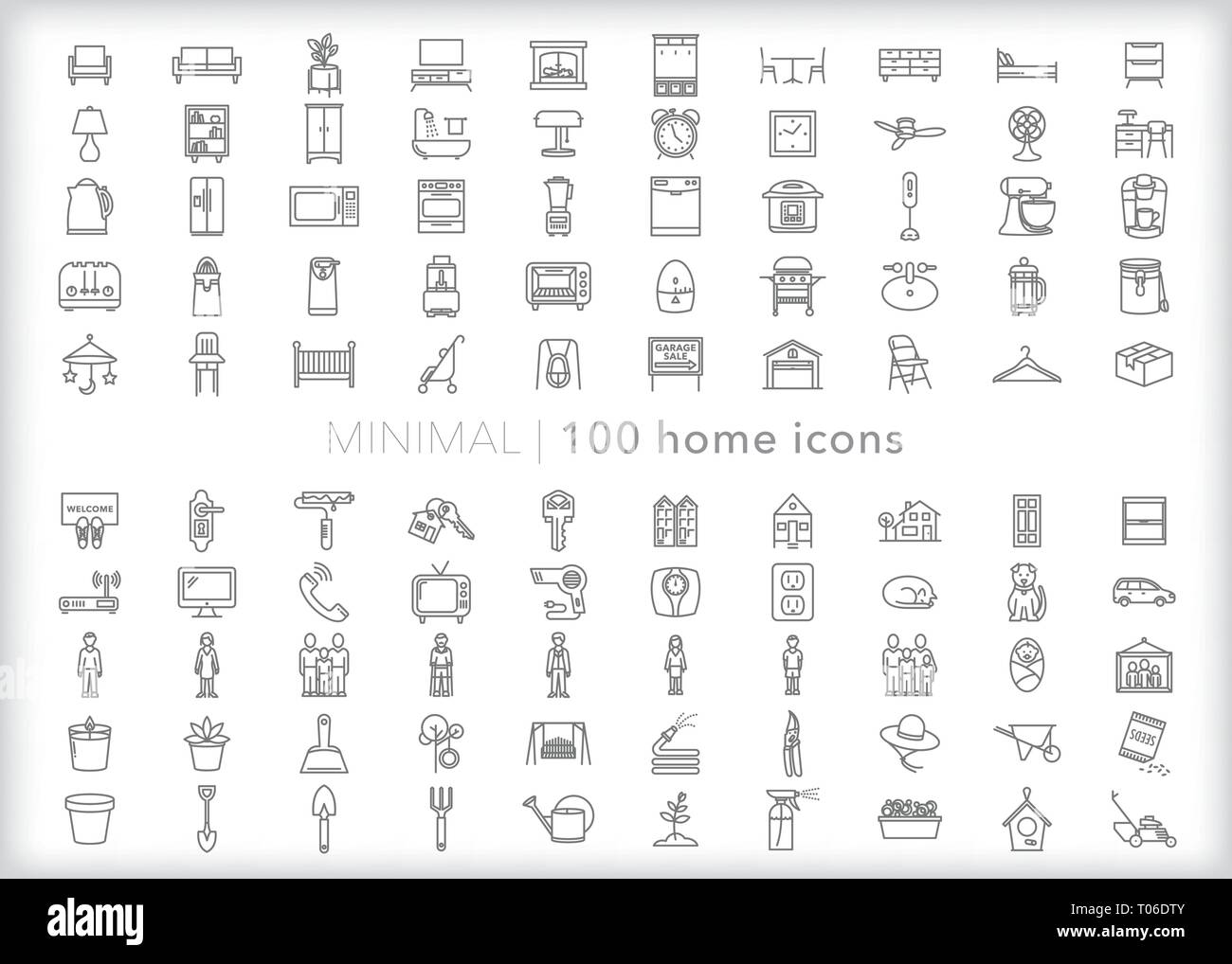 Set of 100 home line icons of furniture, decor, family, objects and appliances for the living room, bedroom, kitchen, bathroom and study - Stock Vector