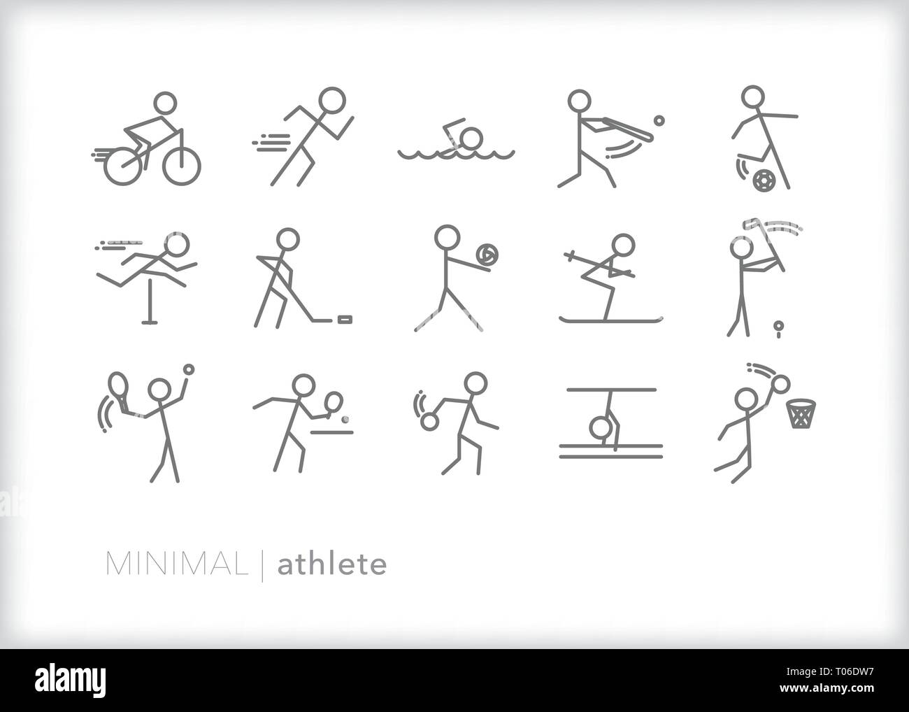 Set of 15 athlete line icons showing stick figures playing various sports with sporting equipment Stock Vector