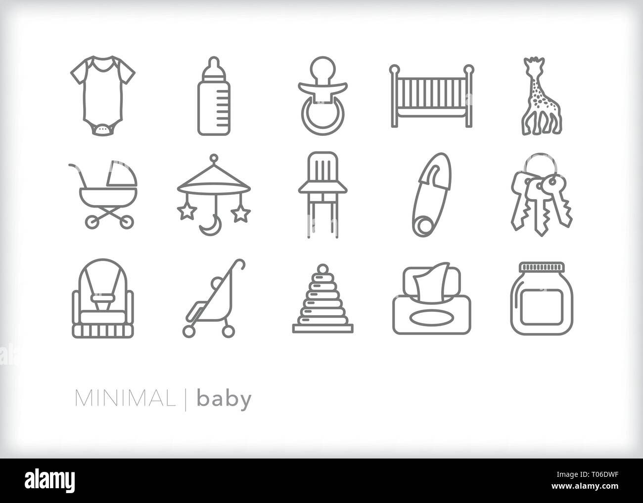 Set of 15 baby line icons of newborn, infant and child items that parents would use for feeding, cleaning, playing and safety - Stock Vector