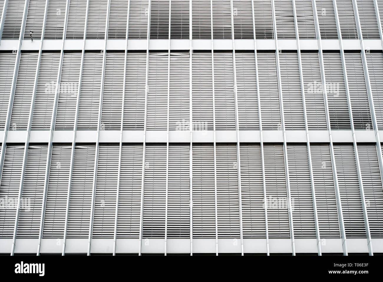 Closed Sun Blinds On Office Building Facade Shutters On Building Exterior Real Estate Background Stock Photo Alamy