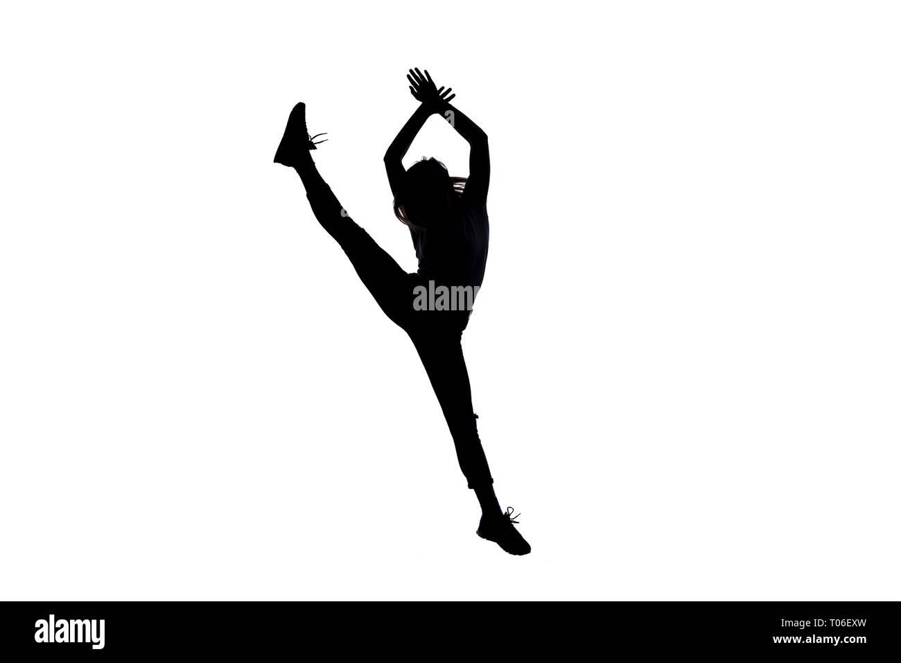 Modern girl doing break dance routine Stock Photo: 241088593
