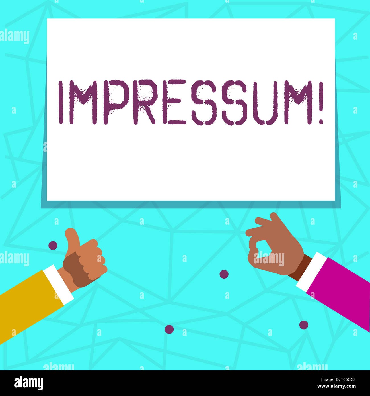 Writing note showing Impressum. Business concept for Impressed Engraved Imprint Geranalysis statement ownership authorship Two Businessmen Hands Gestu - Stock Image