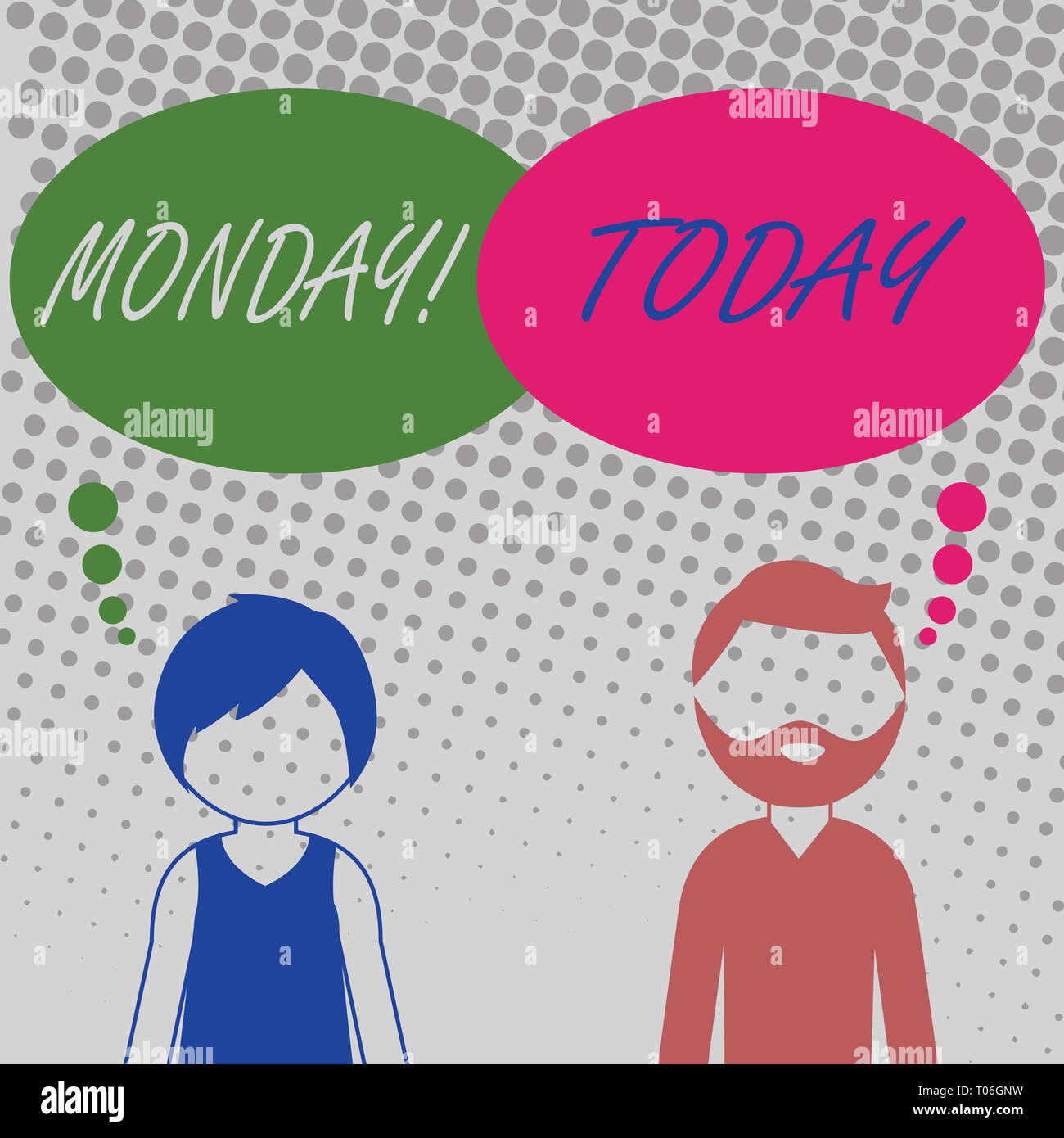 Handwriting text Monday. Conceptual photo First day of the week Back to work Weekend is over Wakeup Early Bearded Man and Woman Faceless Profile with  - Stock Image