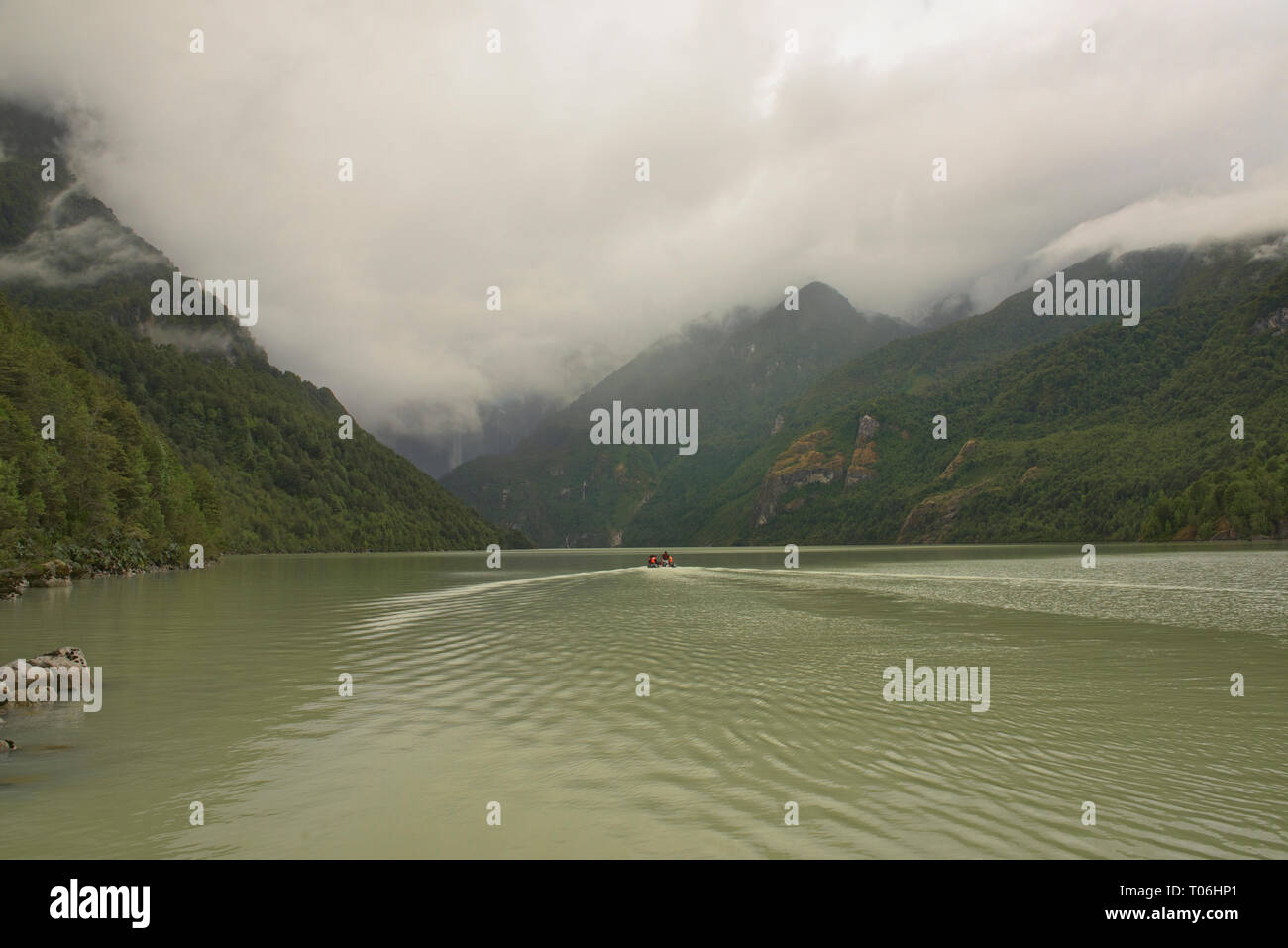 Sightseeing boat on Laguna Tempanos in Queulat National Park, Patagonia, Aysen, Chile - Stock Image