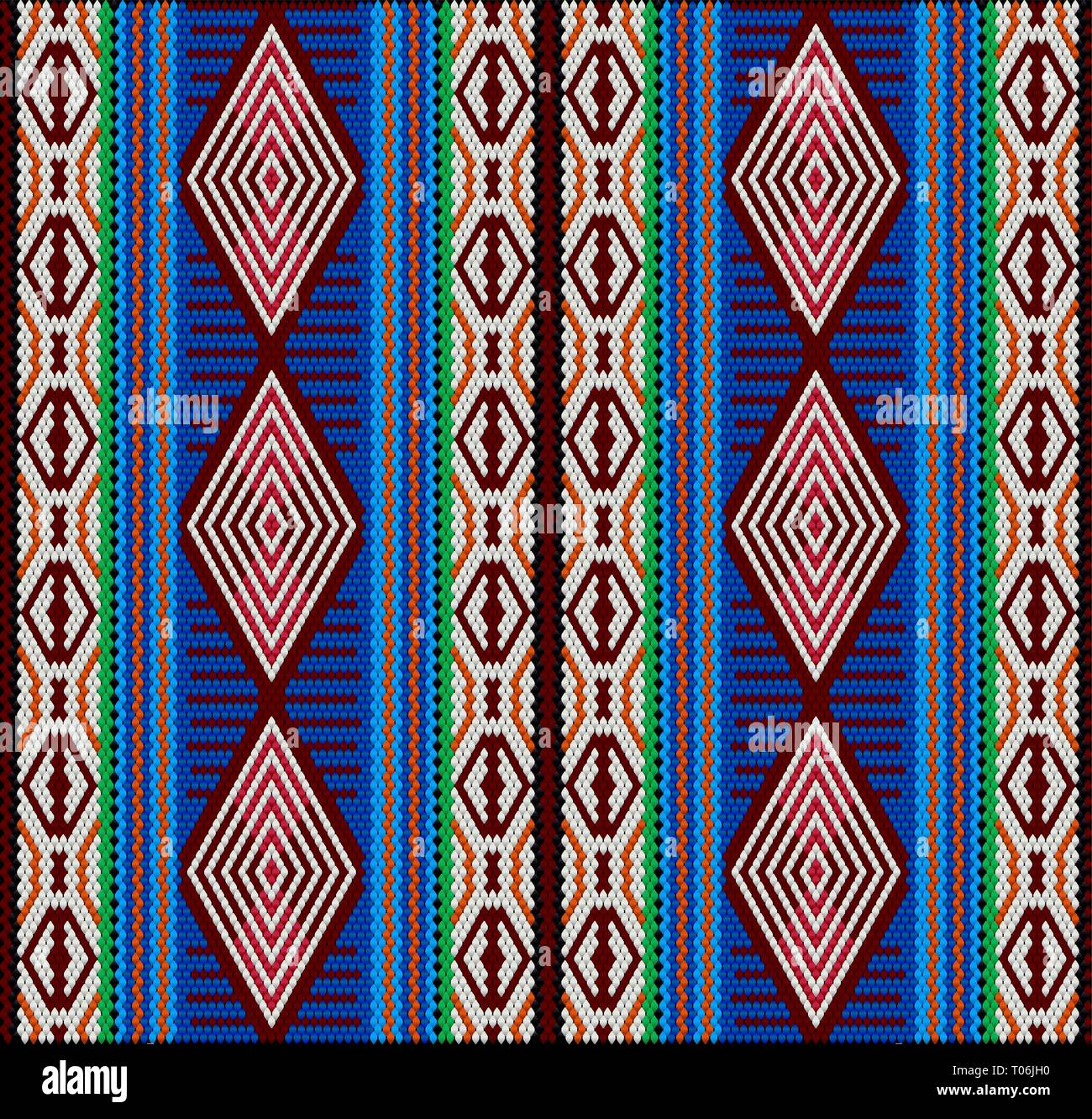 Al-Sadu weaving is a traditional form of embroidery woven by Bedouin women by hand. The pattern brings luck and wealth. - Stock Vector