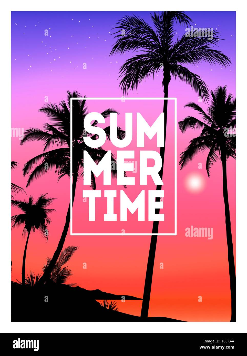 Summer tropical background with palms, sky and sunset. Summer placard poster flyer invitation card. Summertime. - Stock Vector