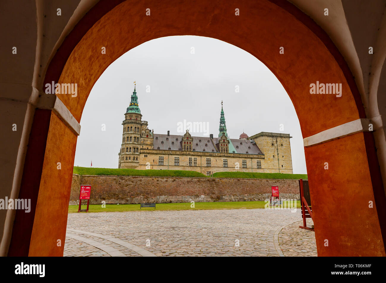 Exterior view of the famous Kronborg Castle at Denmark - Stock Image