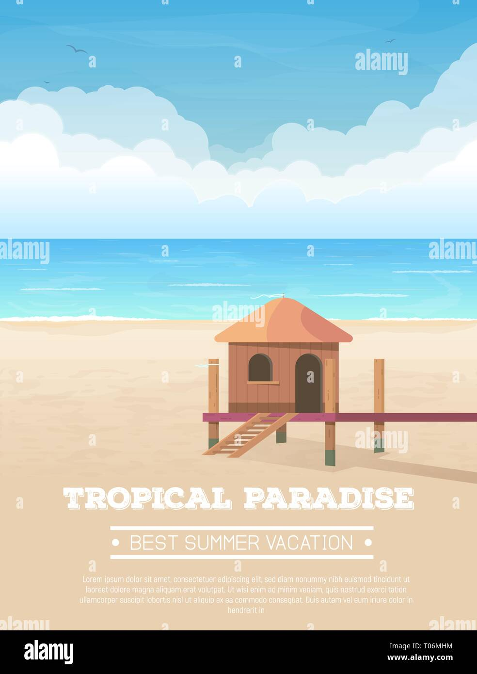 Tropical beach vacation banner - Stock Vector