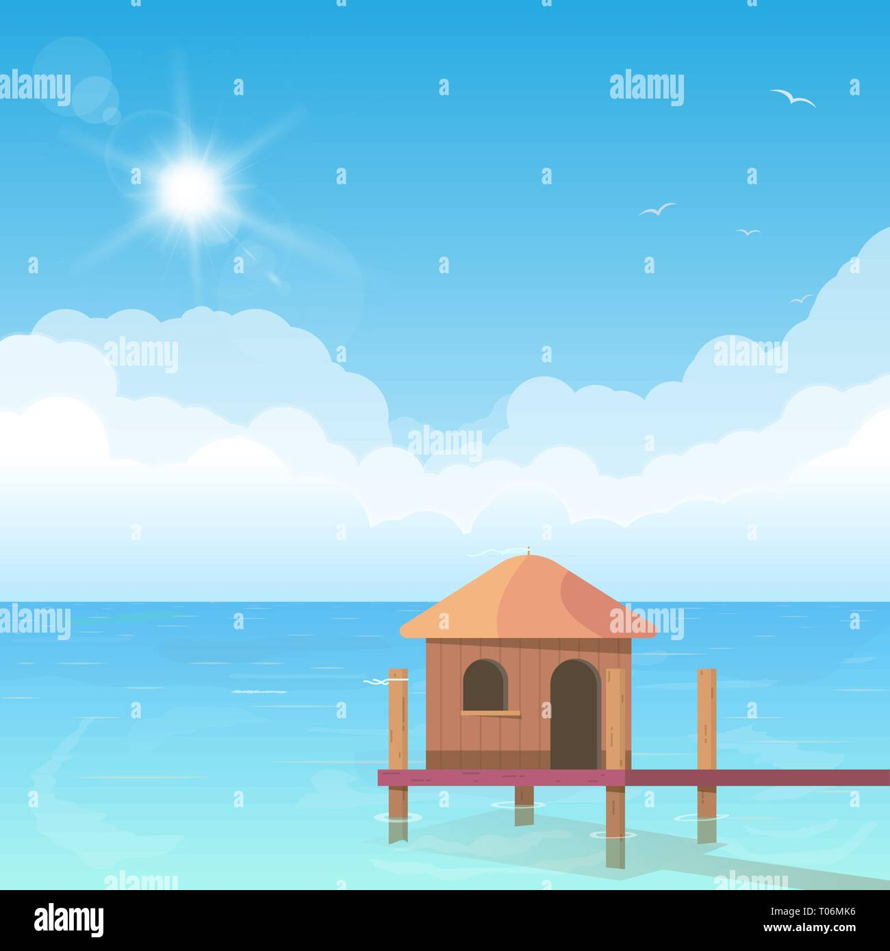 Bungalow on water - Stock Vector