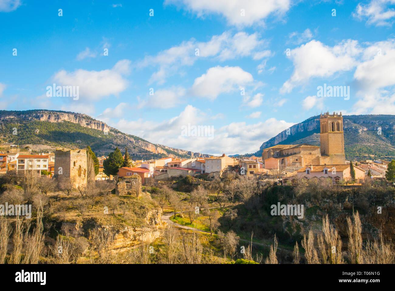 Overview. Priego, Cuenca province, Castilla La Mancha, Spain. - Stock Image