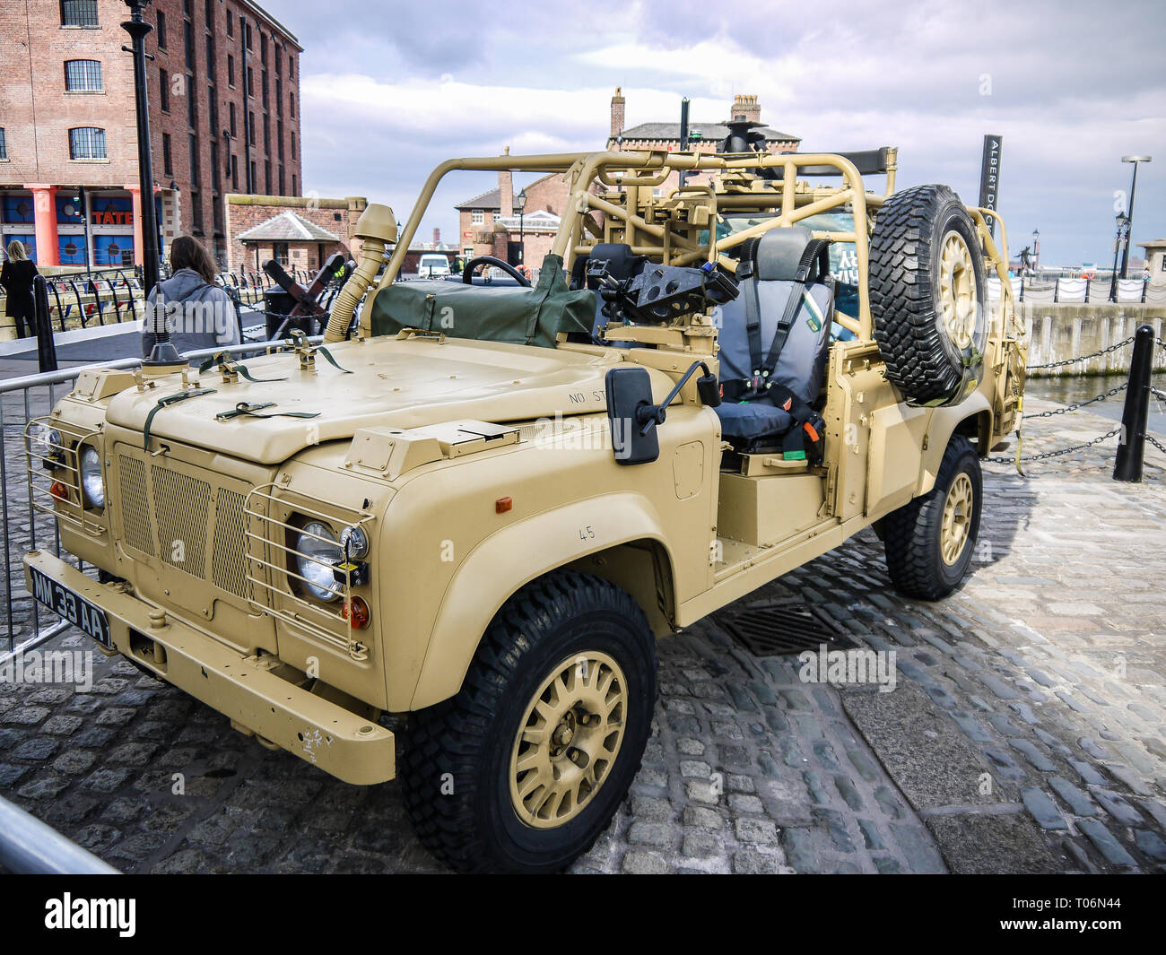 Military desert Land Rover Defender, British Army - Stock Image