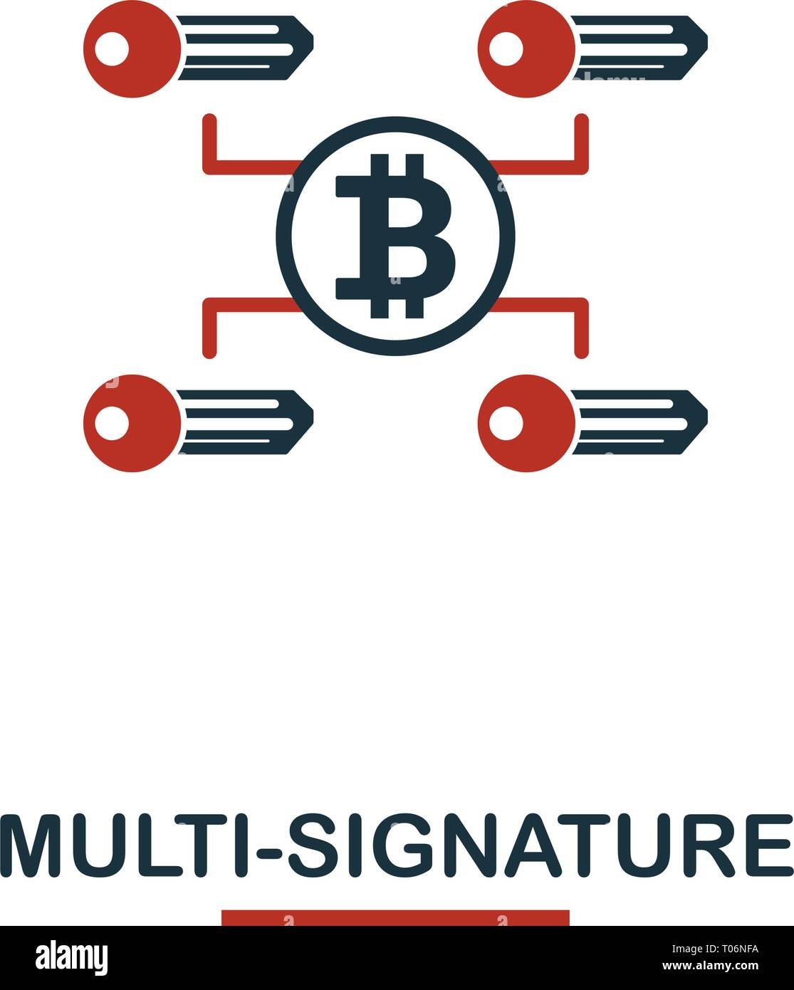Multi-Signature icon. Creative two colors design from crypto currency icons collection. Simple pictogram multi-signature icon for web design, apps, so - Stock Vector
