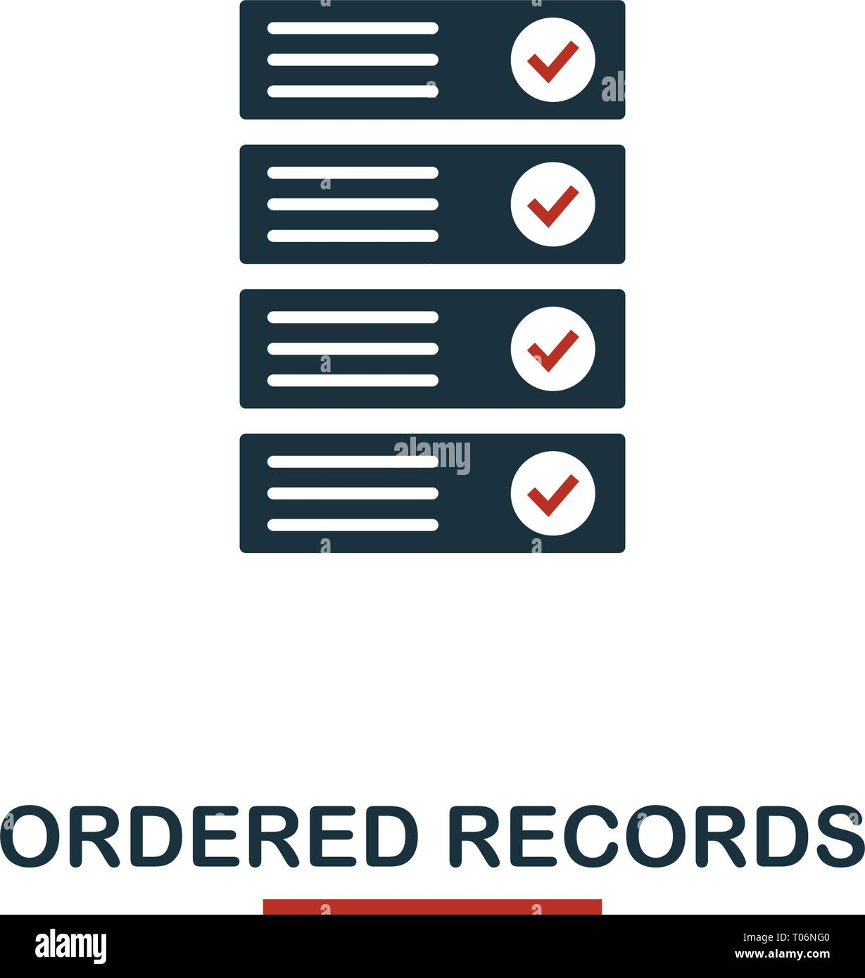 Ordered Records icon. Creative two colors design from crypto currency icons collection. Simple pictogram ordered records icon for web design, apps, so - Stock Vector