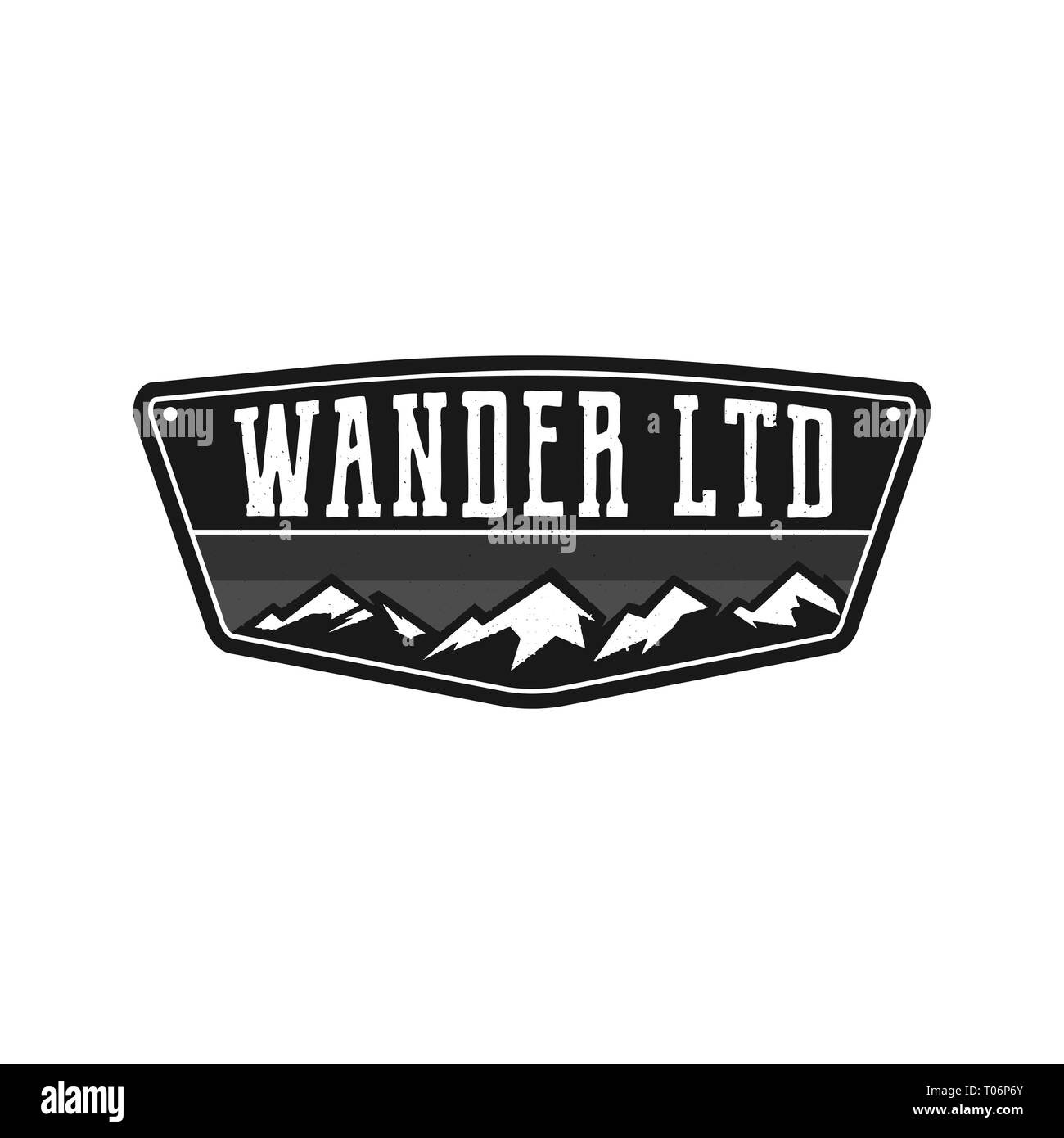 Mountain Illustration, outdoor adventure logo badge. Wander LTD text. Vintage hand drawn camping emblem in monochrome style. Stock vector label - Stock Image