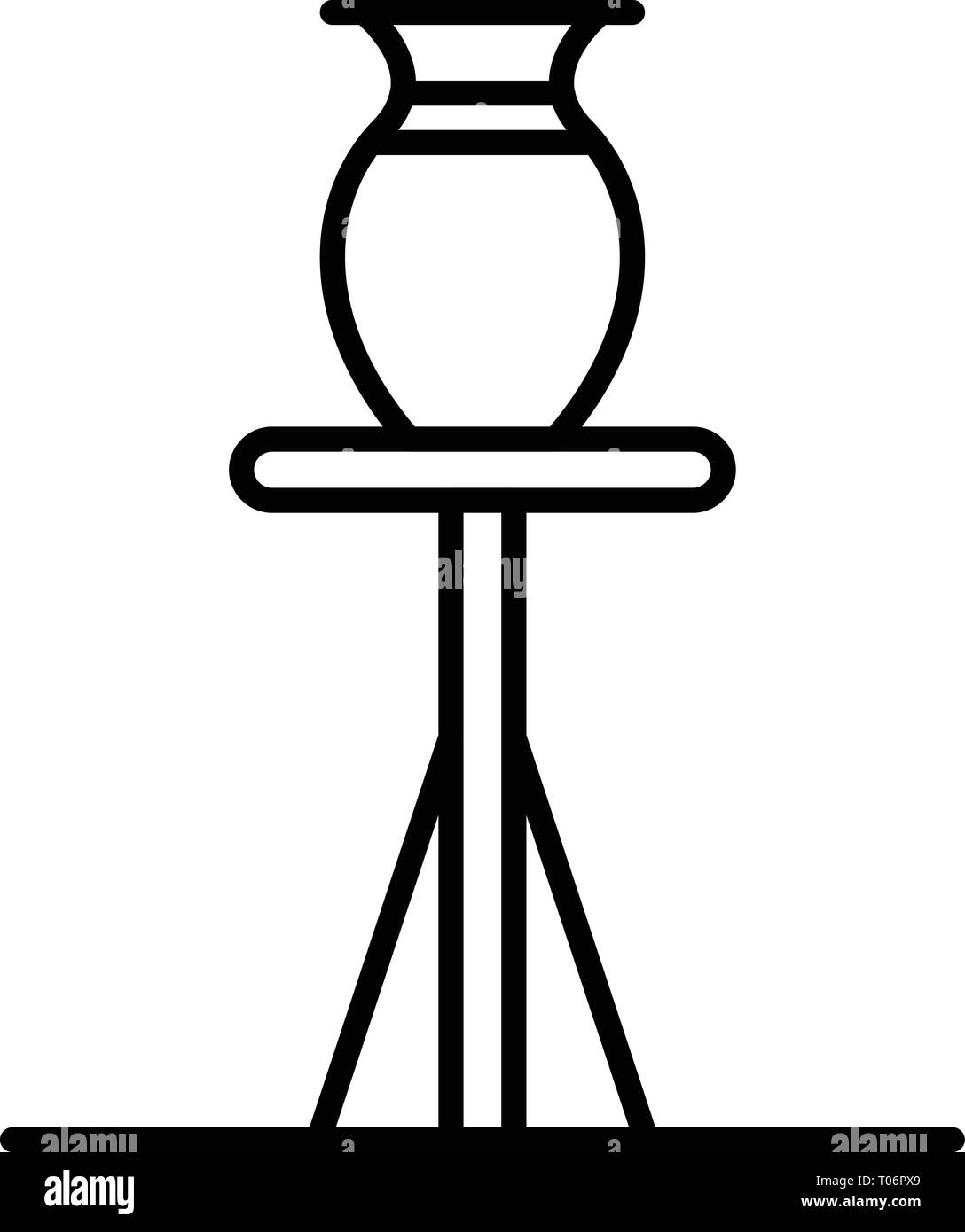 Jug on potter stand icon, outline style - Stock Vector