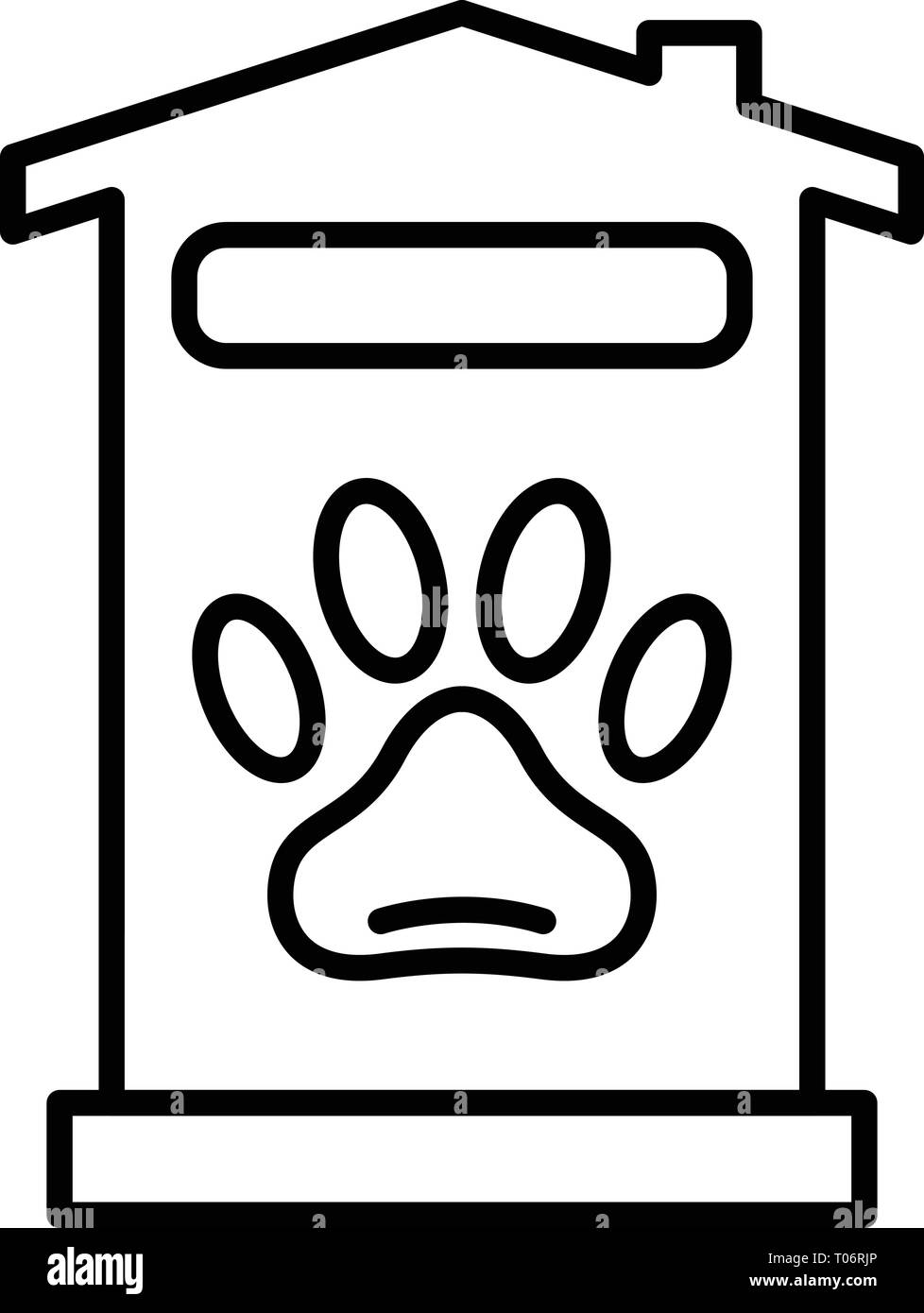 Pet hotel house icon, outline style - Stock Image