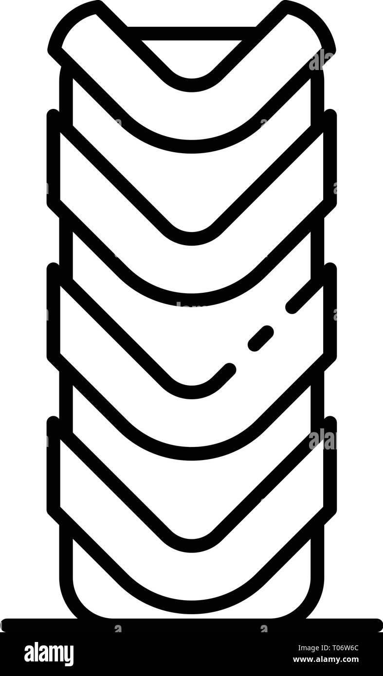 Off road tire icon, outline style - Stock Vector