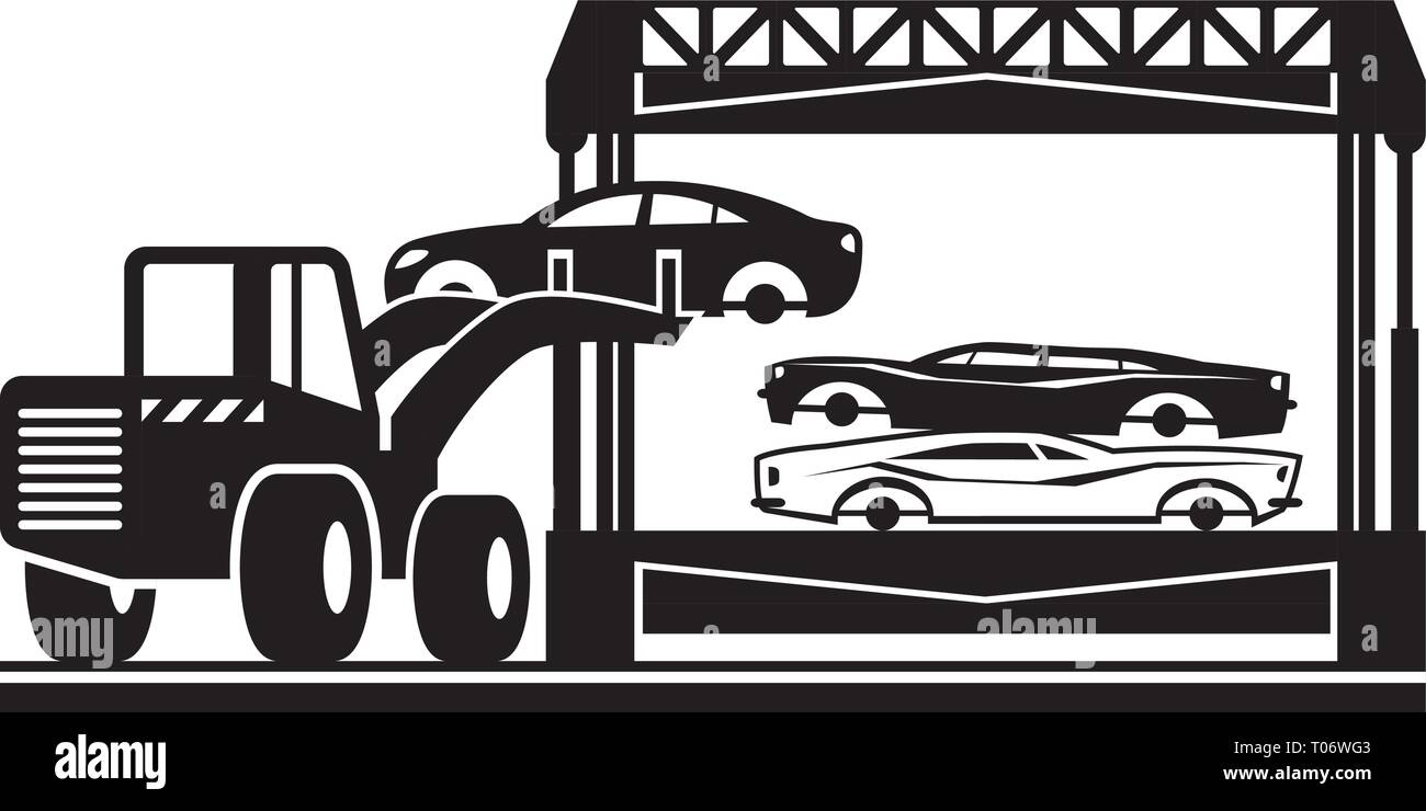 Loader fills car crusher for scrap - vector illustration - Stock Vector