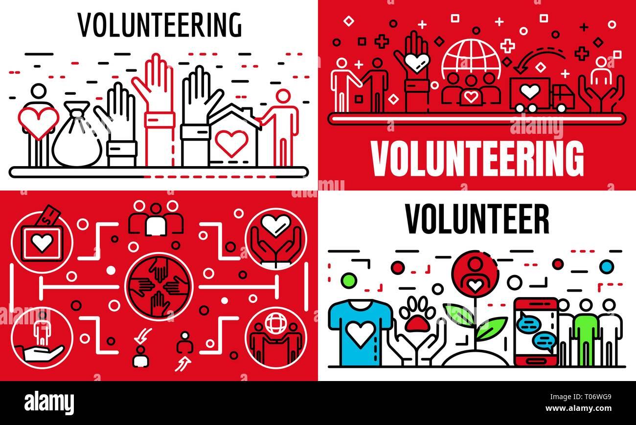 Volunteering banner set, outline style - Stock Vector