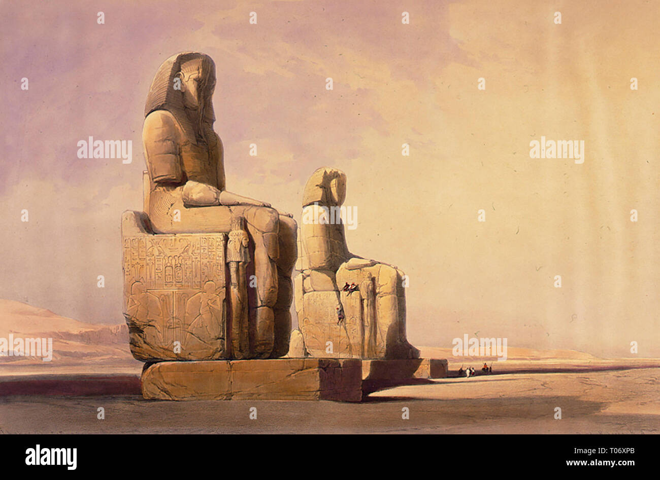 Colossal statues of Amunoph III - Thebes December 4th 1838 - Stock Image