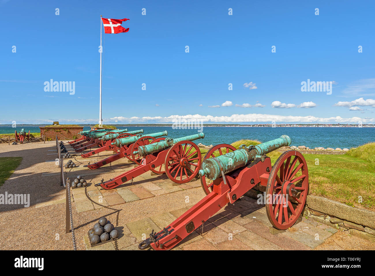 Old cannons in Kronborg Castle. Helsingor. Denmark. This castle is known as Elsinore in William Shakespeare's play Hamlet - Stock Image