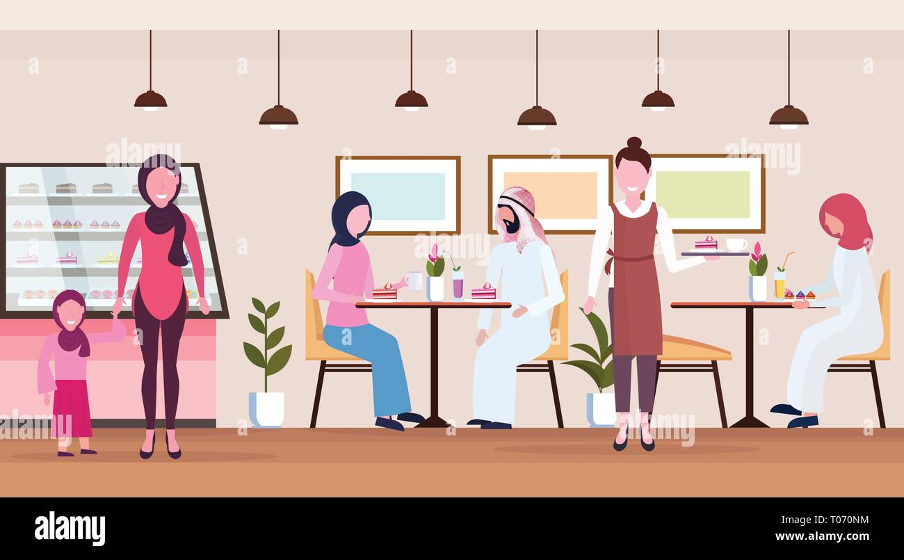 arabic people visitors sitting modern cafe shop waitress serving arab guests wearing traditional clothes bakery cafeteria interior cartoon characters - Stock Vector