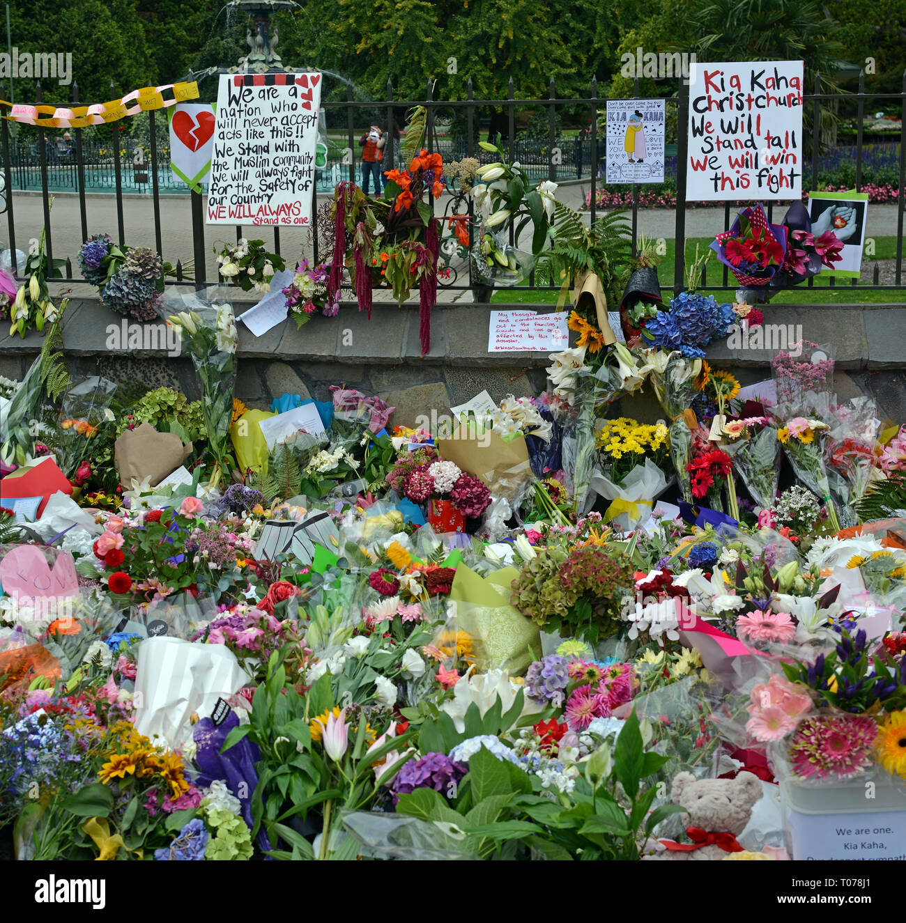 Christchurch, New Zealand - March 18, 2019; Christchurch Mosques Massacre - Messages of solidarity, remembrance; grief and commiseration to the families of the 50 dead. Credit: Nigel Spiers/Alamy Live News - Stock Image