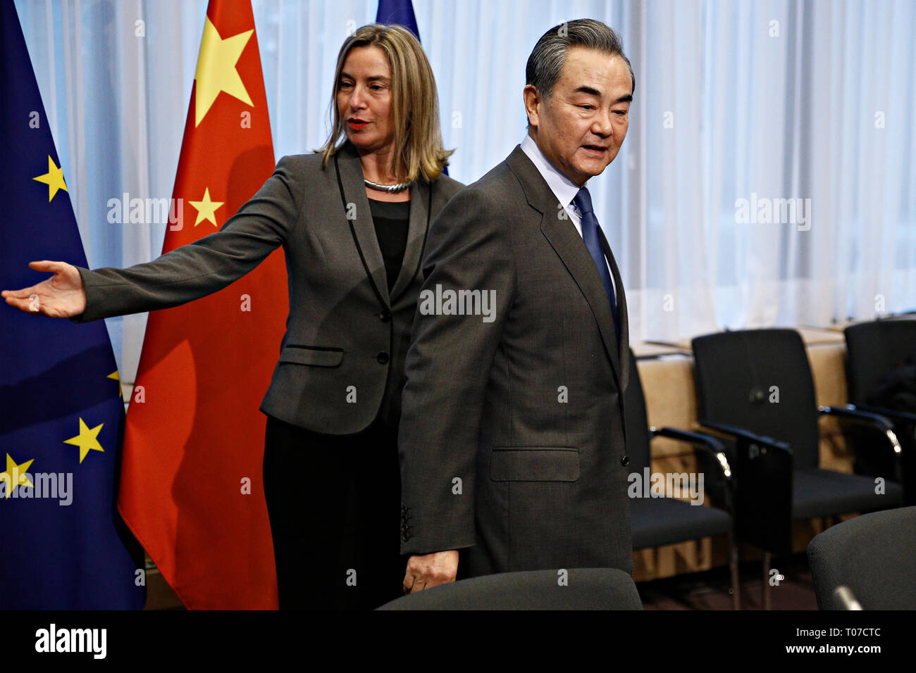 Brussels, Belgium. 18th March, 2019. Chinese Minister of Foreign Affairs WANG Yi and  EU Commissioner Federica MOGHERINI ahead of a meeting on EU-China High-Level Strategic Dialogue. Alexandros Michailidis/Alamy Live News - Stock Image