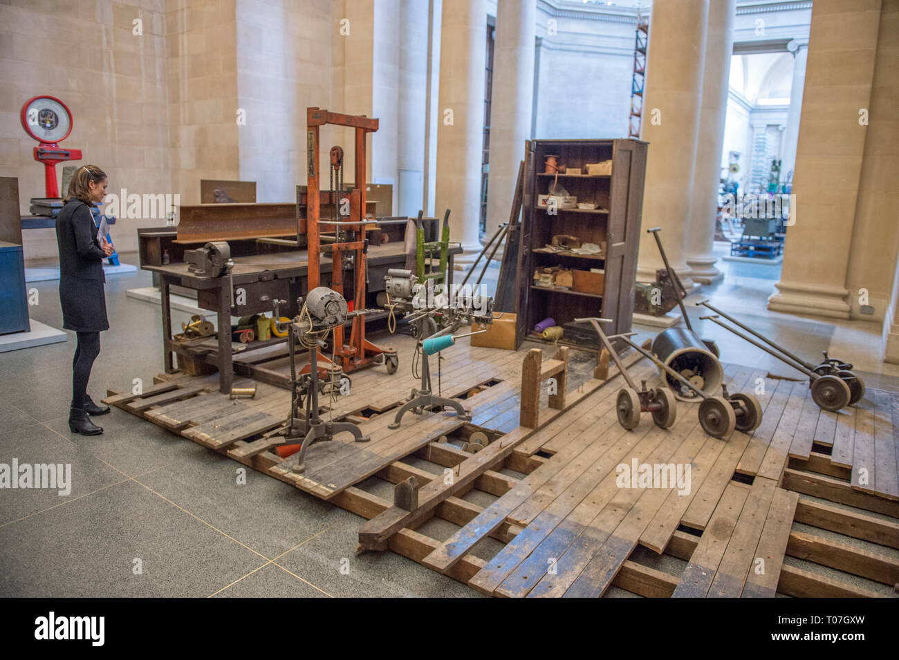 Tate Britain, London, UK. 18th Mar, 2019. Tate Britain Commission 2019: Mike Nelson, The Asset Strippers. For the annual commission Mike Nelson has constructed a large-scale, site specific, cross between a sculpture court and asset strippers' warehouse in response to the unique architecture and history of the neo-classical Duveen Galleries at the heart of Tate Britain. Credit: Malcolm Park/Alamy Live News - Stock Image
