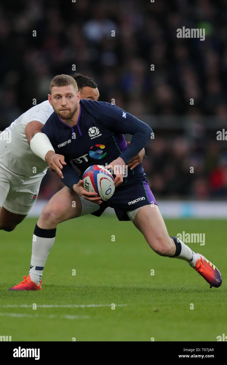 FINN RUSSELL, SCOTLAND and RACING 92, ENGLAND V SCOTLAND, GUINNESS SIX NATIONS 2019, 2019 - Stock Image